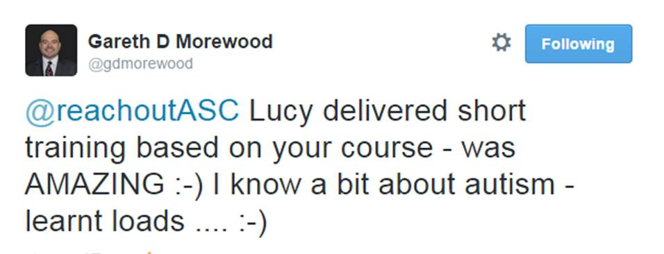 Tweet from G Morewood - great course