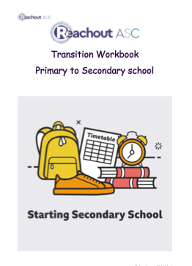 Front page of transition to secondary school booklet