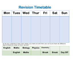 A simple daily revision timetable