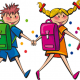 cartoon picture of a boy and girl walking to school