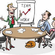 cartoon of 4 people around a table having a team meeting.