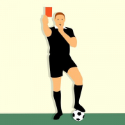a picture of a referee holding a red card