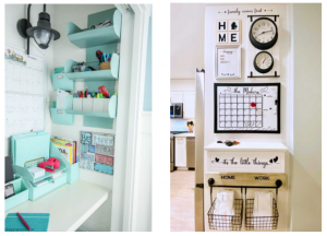 various examples of wall mounted storage and organisation ideas.