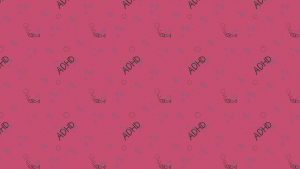a pink background with repeating pattern of the word ADHD and fish blowing bubbles.