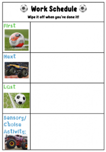 work schedule chart with football pictures. Titles, first, nest, last and sensory activity